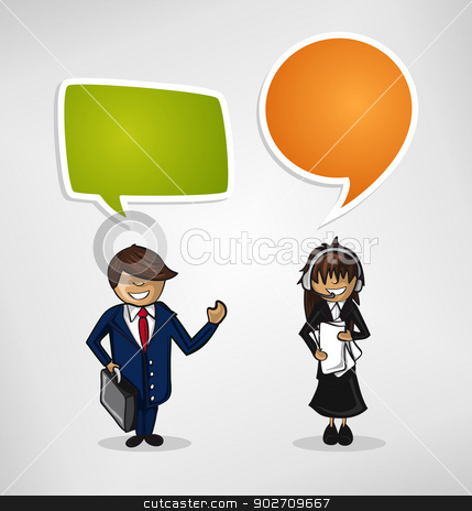 Work group business cartoon people stock vector clipart, Teamwork business success happy faces couple speech bubble illustration. Vector file layered for easy editing by Cienpies Design