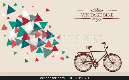 Retro hipster bicycle with geometric elements. stock vector clipart, Vintage Bike frame text, triangles splash. Vector file layered for easy editing. by Cienpies Design