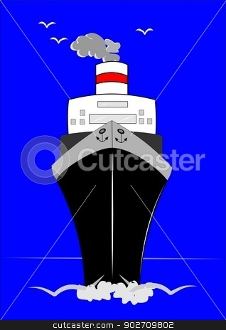 cruise ship on the high seas  stock vector clipart, cruise ship with seagulls flying over head  by Gary Nicolson
