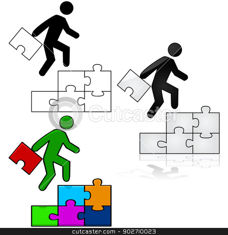 Success puzzle stock vector clipart, Concept illustration showing a man climbing a stair made out of puzzle pieces, while carrying the final piece to complete the puzzle by Bruno Marsiaj