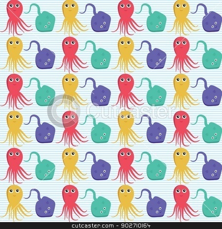 Seamless pattern with octopus and ramp. Easy editable. stock photo, Seamless pattern with octopus and ramp. Easy editable. Vector version by Maria Cherevan