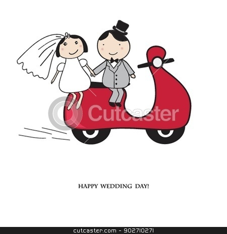 Bride and groom on the red scooter. stock photo, Bride and groom on the red scooter. Wedding card in vector version. by Maria Cherevan