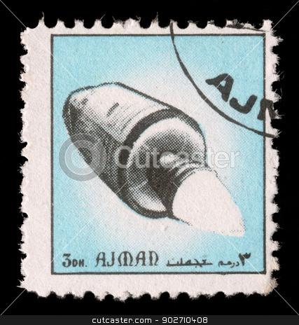 Stamp printed in emirate Ajman show spaceship stock photo, AJMAN - CIRCA 1972: A stamp printed in emirate Ajman show spaceship, circa 1972 by Zvonimir Atletic