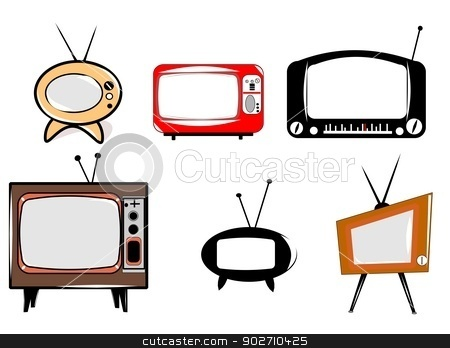 retro televisions over white  stock vector clipart, fifties tv's by Gary Nicolson