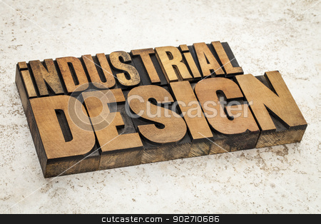 industrial design stock photo, industrial design  text in vintage letterpress wood type on a ceramic tile background by Marek Uliasz
