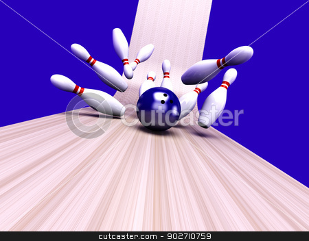 Strike stock photo, Playing bowling and hitting them all. 3D rendered Illustration.  by Michael Osterrieder