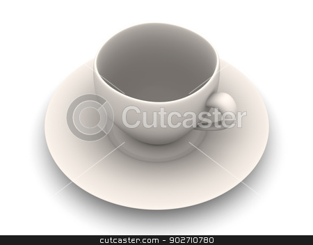 Coffee Cup stock photo, 3D rendered Illustration. Isolated on white. by Michael Osterrieder