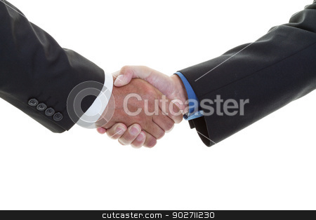 Business handshake stock photo, Closeup of a business handshake on a white background  by Steve Mcsweeny