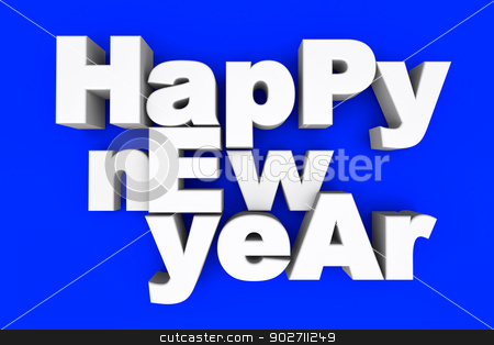 Happy new year stock photo, Happy new year. 3d illustration. by Michael Osterrieder
