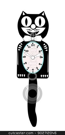 retro clock popular in the fifties and sixties stock vector clipart, cat clock  by Gary Nicolson