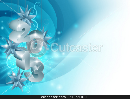 Christmas Decorations 2013 Background stock vector clipart, Blue dynamic Christmas Decorations 2013 Background with star shaped Christmas tree ornaments and light explosion by Christos Georghiou
