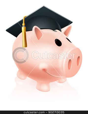 Mortar Board Piggy bank stock vector clipart, Piggy bank wearing an academic mortar board hat, concept for saving for an education by Christos Georghiou