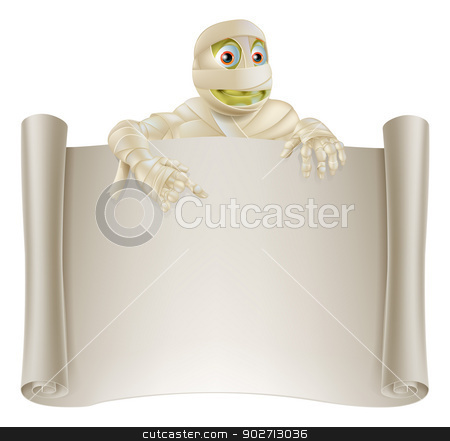 Mummy Halloween Banner Scroll stock vector clipart, An illustration of a Halloween mummy character on top of a scroll sign or banner and pointing at it by Christos Georghiou