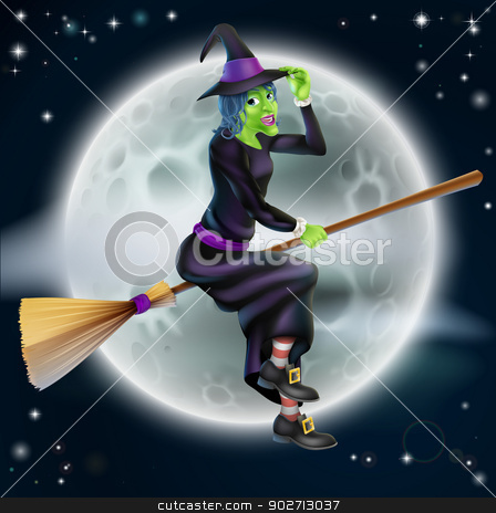 Witch Flying in Front of the Moon stock vector clipart, A cartoon Halloween witch character flying in front of a big full moon by Christos Georghiou
