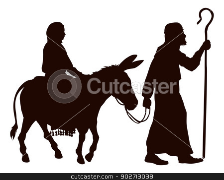 Mary and Joseph silhouettes stock vector clipart, Silhouette illustrations of Mary and Joseph journeying with a donkey looking for a place to stay on Christmas Eve. by Christos Georghiou
