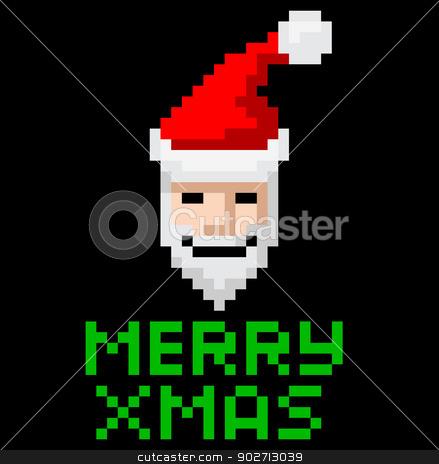 Retro arcade pixel art Santa stock vector clipart, Retro arcade video game style pixel art Christmas Santa with Merry Xmas message by Christos Georghiou