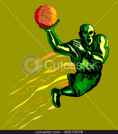 Basketball Player Dunking stock vector clipart, Illustration of a green basketball player dunking ball. by patrimonio
