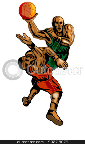 Basketball Player Dunking Blocking stock vector clipart, Illustration of a basketball player dunking a ball with someone blocking him. by patrimonio