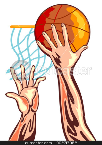 Basketball Hands Retro stock vector clipart, Illustration of a basketball player's hand dunking with another hand reaching to block it done in retro style. by patrimonio