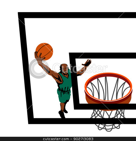 Basketball Player Dunking stock vector clipart, Illustration of a basketball player dunking a ball viewed from above done in retro style. by patrimonio