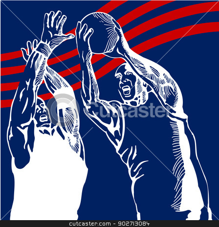 Basketball Player Lay-Up stock vector clipart, Illustration of a basketball player lay-up with another basketball player blocking him done in retro style. by patrimonio