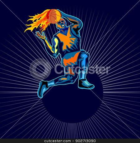 Basketball Player Jumping stock vector clipart, Illustration of a leaping basketball player catching a ball on fire done in retro style. by patrimonio