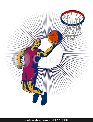Basketball Player Dunking stock vector clipart, Illustration of a basketball player dunking ball done in retro style. by patrimonio