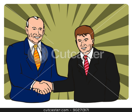 Businessmen Shaking Hands stock vector clipart, Illustration of two businessmen shaking hands done in retro style.  by patrimonio