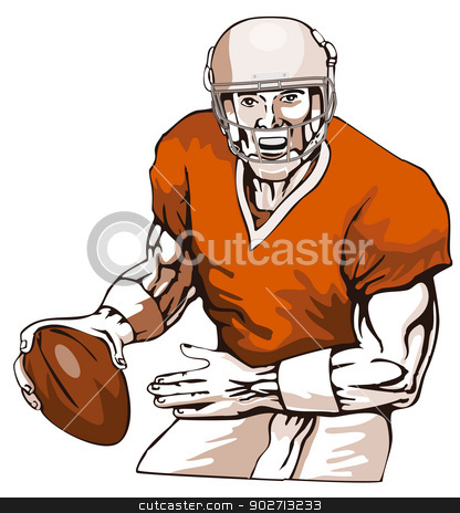 Football Player Pass stock vector clipart, Illustration of football player passing viewed from the front done in retro style.  by patrimonio