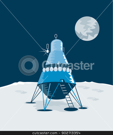 Lunar Module on the Moon stock vector clipart, Illustration of lunar module landing on the moon isolated on white background done in retro style.  by patrimonio