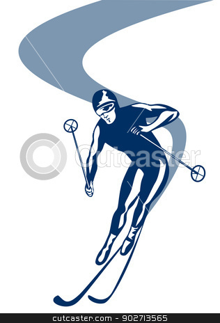 Skiing Slalom Downhill stock vector clipart, Illustration of person slalom skiing downhill mountain slopes front view isolated on white background done in retro style.  by patrimonio