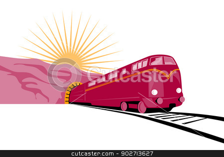 Train Coming out of tunnel stock vector clipart, Illustration of a train coming out of a tunnel with sun in the background done in retro style.  by patrimonio
