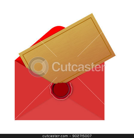 Christmas Envelope stock photo, Illustration of christmas red envelope with card letter isolated on white background done in retro style.  by patrimonio