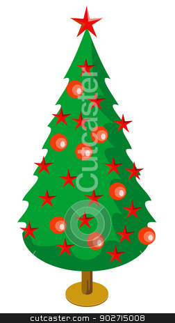 Christmas Tree with Decors stock photo, Illustration of Christmas tree with red decorations balls stars isolated on white background done in retro style.  by patrimonio