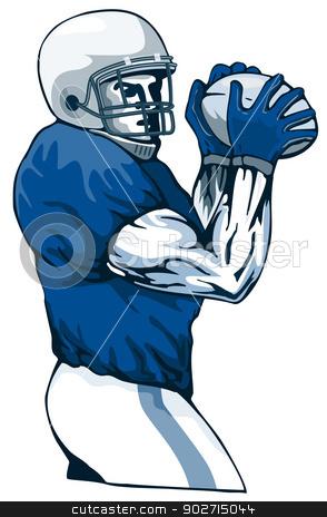 Football Player Pass stock photo, Illustration of football player passing viewed from the front done in retro style.  by patrimonio