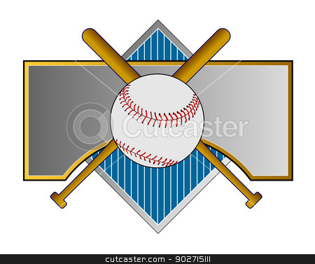 Baseball and Bat on Metal Crest stock photo, Illustration of a baseball and bat set on a metal crest done in retro style.  by patrimonio