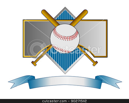Baseball and Bat on Metal Crest stock photo, Illustration of a baseball and bat set on a metal crest with ribbon done in retro style.  by patrimonio