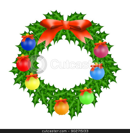 Christmas Wreath stock photo, Illustration of Christmas wreath with ball and ribbon isolated on white background done in retro style.  by patrimonio