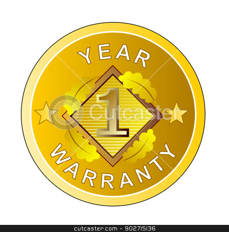 1 Year Warranty in Circle stock photo, Illustration of the words 1 year warranty set inside a circle done in retro style.  by patrimonio