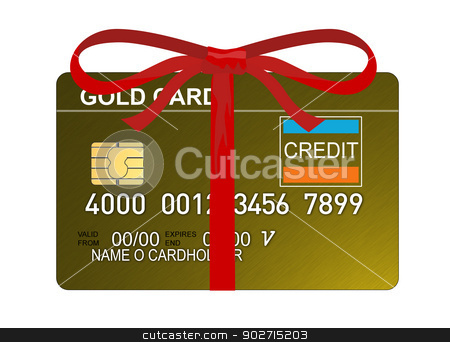 Credit Card stock photo, Illustration of gold credit card with red ribbon isolated on white background done in retro style.  by patrimonio