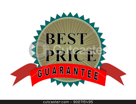Best Price Guaranteed Seal and Ribbon stock photo, Illustration of gold seal with red ribbon with words Best Price Guaranteed done in retro style.  by patrimonio