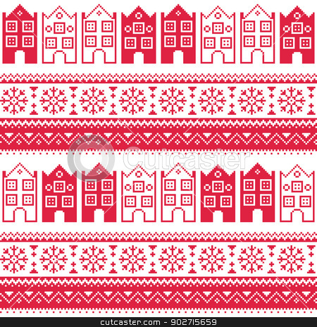 Christmas Knitted Seamless Pattern With Town Houses Adn Snowflakes