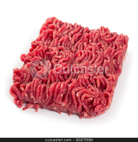 Ground beef stock photo, Photo of fresh ground beef on white background. by © Ron Sumners