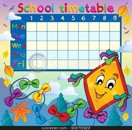 School timetable thematic image 8 stock vector clipart, School timetable thematic image 8 - eps10 vector illustration. by Klara Viskova