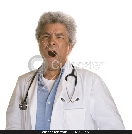 Yawning Mature Doctor stock photo, Yawning Black doctor with stethoscope on white background by Scott Griessel