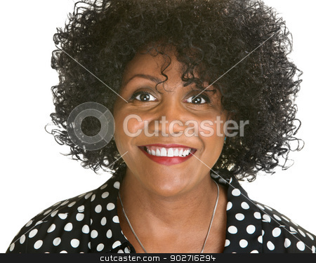 Beautiful Smiling Woman stock photo, Beautiful mature African woman on isolated white background by Scott Griessel