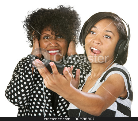 Annoyed with Loud Person stock photo, Woman covering her ears while young person sings by Scott Griessel