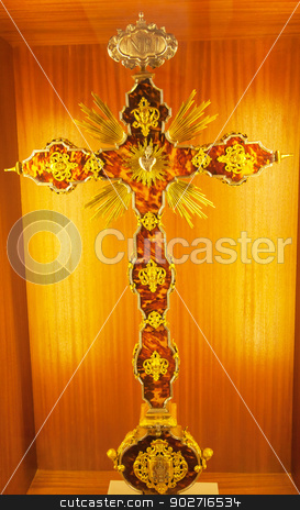 Ornate Golden Cross Seville Cathedral Spain stock photo, Ornate Golden Cross Seville Cathedral, Cathedral of Saint Mary of the See, Seville, Andalusia Spain.  Built in the 1500s. by William Perry