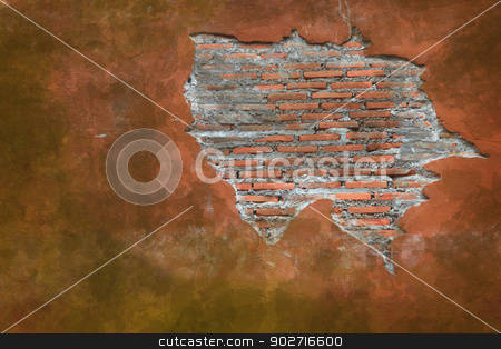 Cracking grunge weathered vintage and fragment of Red brick wal stock photo, Cracking grunge weathered vintage and fragment of Red brick wall using as background by Vichaya Kiatying-Angsulee