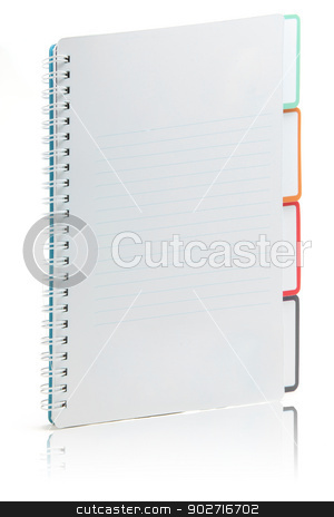 Ring binding book with document stock photo, Ring binding book document index isolated on white with its reflection by Vichaya Kiatying-Angsulee